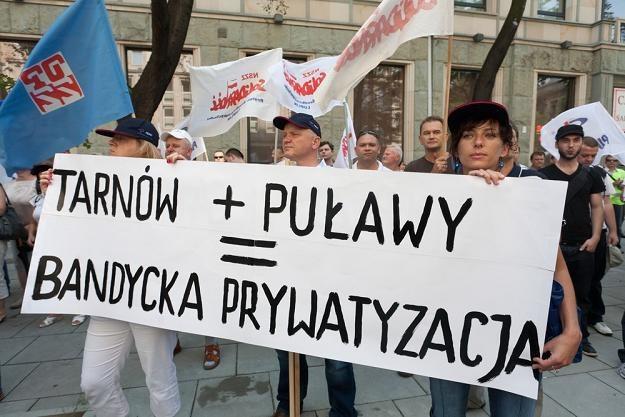 Azoty Puławy i Azoty Tarnów razem. To nie podobało się pracownikom Puław... Fot. Krystian Maj /Reporter