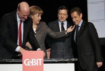 Ballmer, Merkel, Baroso i Sakrozy - oficjalne otwarcie targów CeBIT /AFP