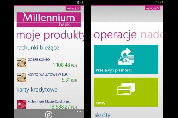 Bank Millennium z aplikacją dla Windows Phone 8 /materiały prasowe