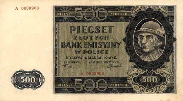 """Banknot 500 zł, czyli okupacyjny """"góral"""" - najwyższy nominał drukowany przez Bank Emisyjny (zdjęcie z domeny publicznej) /Archiwum autora"""
