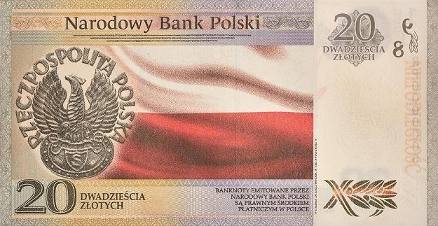 "Banknot kolekcjonerski o nominale 20 zł ""Niepodległość"" - odwrotna strona /NBP"