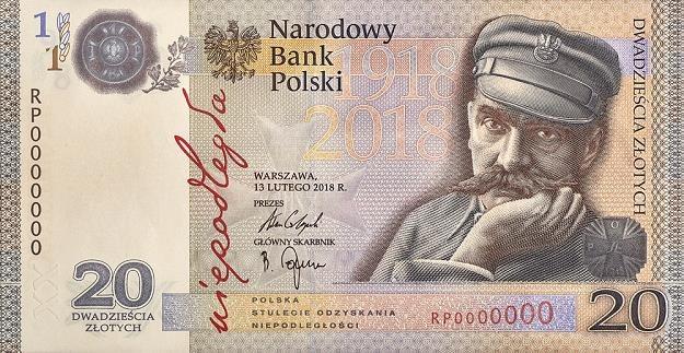 """Banknot kolekcjonerski o nominale 20 zł """"Niepodległość"""" - przednia strona /NBP"""