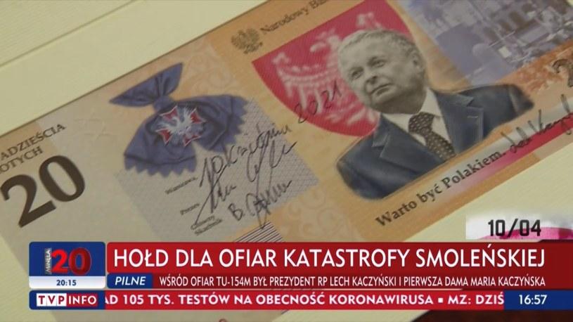 """Uwaga rupia """"Lek Kaczyński.  Warto być Polakiem"""" / Źródło: tvp.info /"""