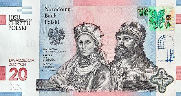 Banknot z podobizną Mieszka I i Dobrawy - przednia strona /NBP