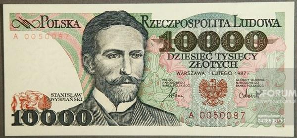 Banknot 10 000 zł.