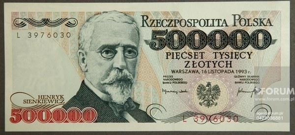 Banknot 500 000 zł