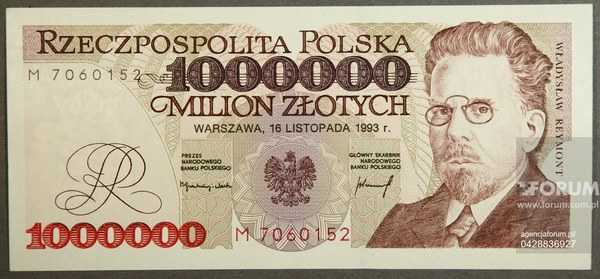 Banknot 1000 000 zł
