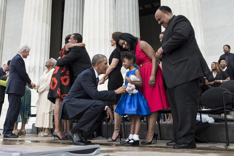 Barack Obama i Martin Luther King III z rodziną /AFP