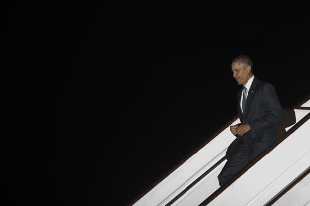 Barack Obama na londyńskim lotnisku Stansted /AFP