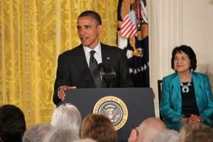 Barack Obama podczas gali przyznania Prezydenckiego Medalu Wolności //RMF FM