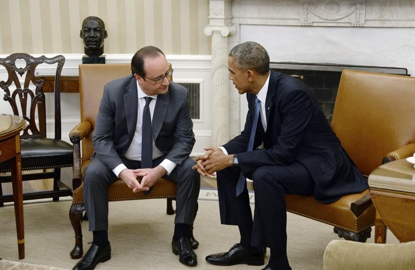 Barack Obama spotkał się dzisiaj w Waszyngtonie z prezydentem Francji Francois'em Hollande'm/ /OLIVIER DOULIERY /PAP/EPA