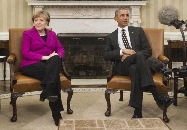 Barack Obama spotkał się z Angelą Merkel /AFP