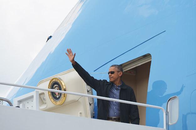 Barack Obama tuż przed wylotem do Niemiec fot. MANDEL NGAN /AFP