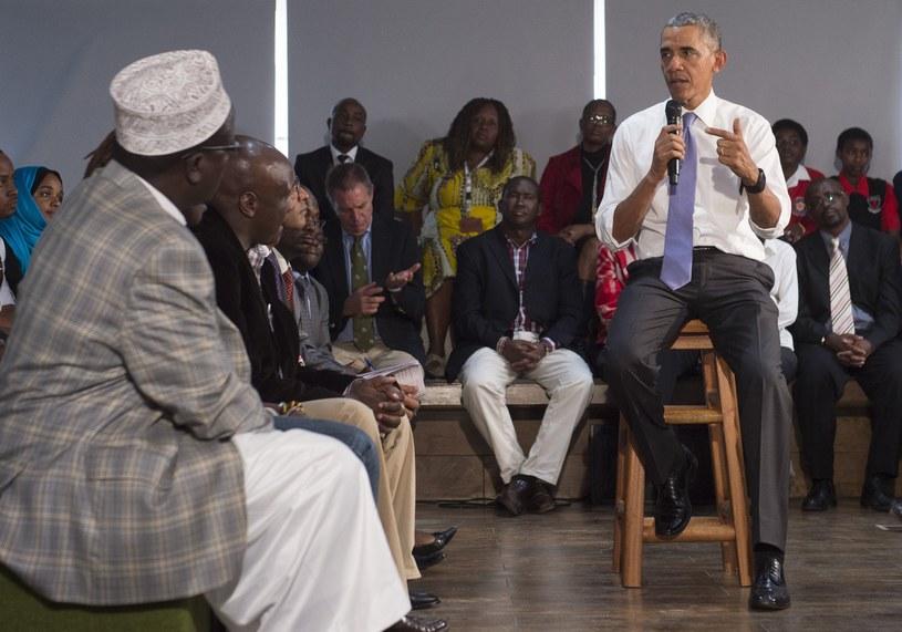 Barack Obama w czasie spotkania z przedstawicielami kenijskiego społeczeństwa obywatelskiego / Saul LOEB /AFP