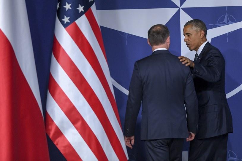 Barack Obama w rozmowie z Andrzejem Dudą /Rafał Oleksiewicz /East News