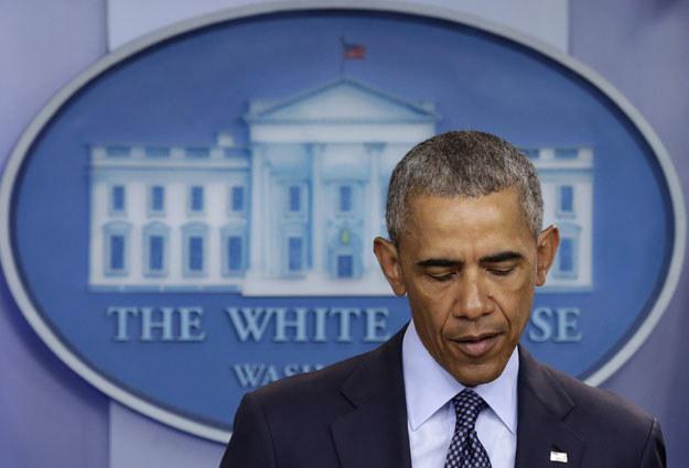 Barack Obama w trakcie przemówienia w Białym Domu /AFP
