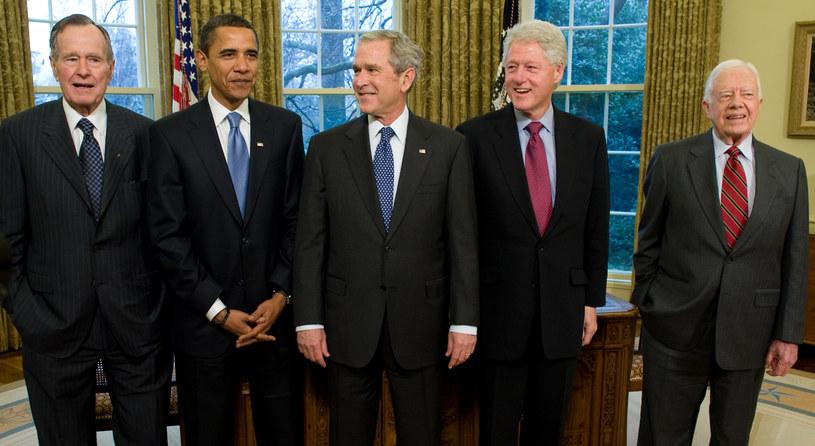 Barack Obama  z byłymi prezydentami USA /AFP