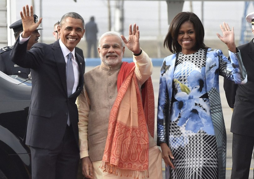 Barack Obama z żoną oraz premier Indii Narendra Modi /PAP/EPA