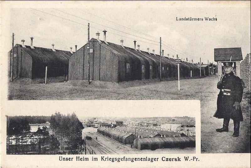 Baraki strażników na terenie obozu jenieckiego w Czersku /Odkrywca