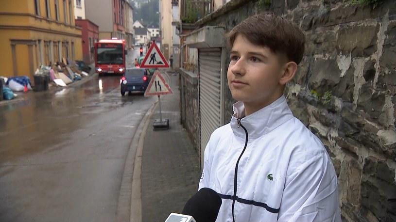 Bartek Zarębski uratował strażaka podczas tragicznej powodzi w Niemczech /Polsat News