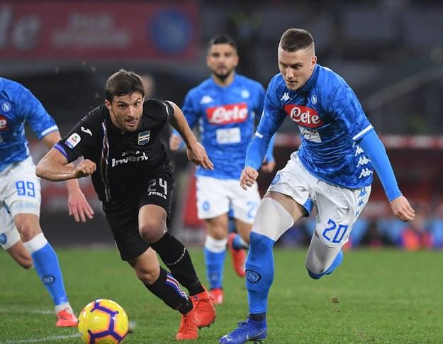 Bartosz Bereszyński i Piotr Zieliński w meczu Sampdorii Genua z Napoli (2 lutego 2019) /Alberto Lingria /PAP/Photoshot