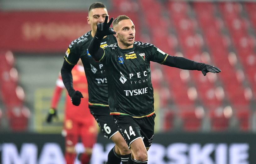 Bartosz Biel strzelił gola dla Tychów w Łodzi /Lukasz Sobala / PressFocus / NEWSPIX.PL /Newspix