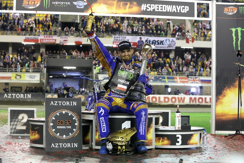 Bartosz Zmarzlik na podium Grand Prix /Sławomir Kowalski /Newspix
