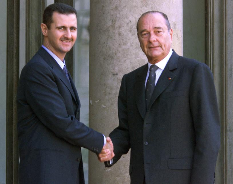 Baszar el-Asad, Jacques Chirac /JACK GUEZ /AFP