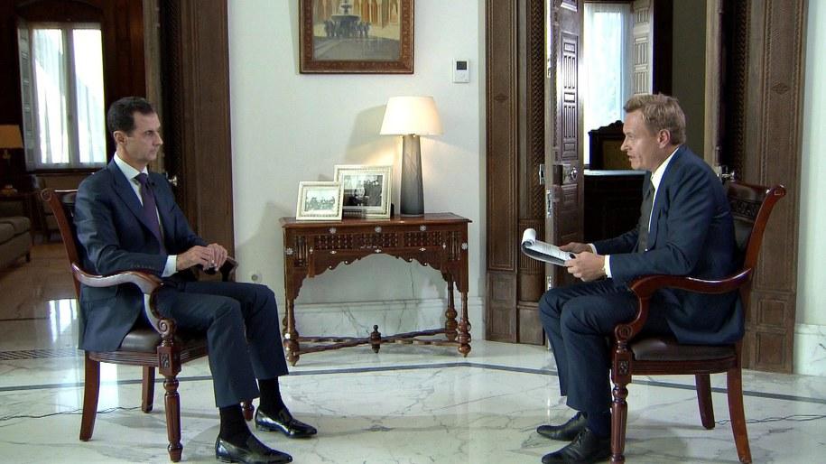 Baszar el-Asad podczas wywiadu dla duńskiej telewizji /SCANPIX DENMARK/TV2 /PAP/EPA