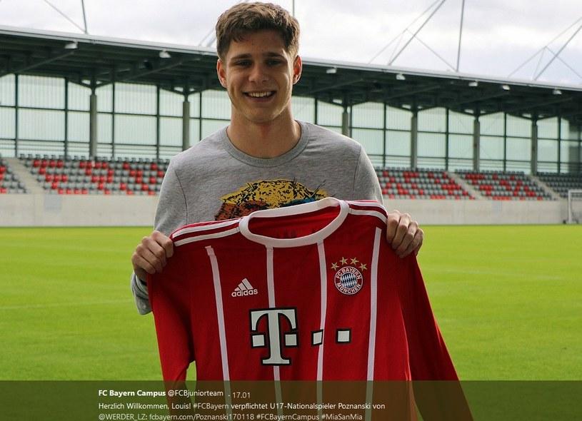 Bayern pochwalił się transferem Louisa Poznanskiego; źródło: konto Bayernu na Twitterze /