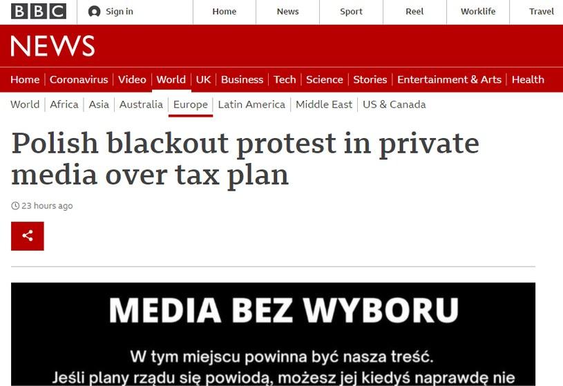 BBC o proteście polskich mediów /