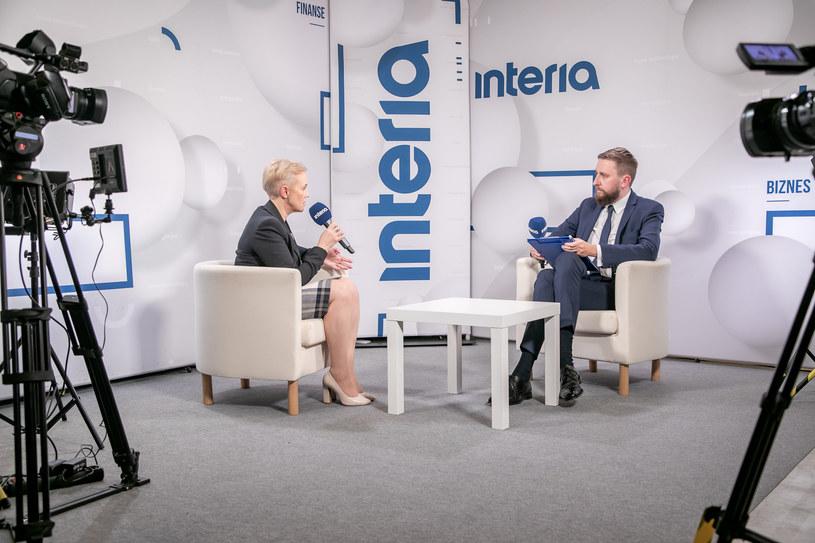 Beata Daszyńska-Muzyczka, prezes BGK w studiu Interii /Fot. Ireneusz Rek /INTERIA.PL