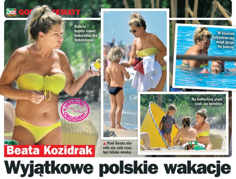 Beata Kozidrak z wnukiem Sebastianem w Juracie /Życie na gorąco