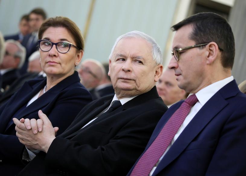 Beata Mazurek. Jarosław Kaczyński i Mateusz Morawiecki /Piotr Molecki /East News