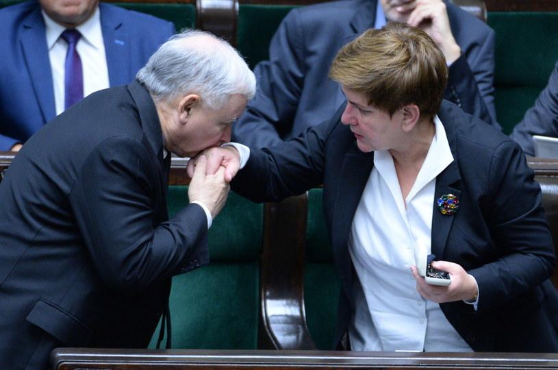 Beata Szydło i Jarosław Kaczyński /Tomasz Gzell /PAP
