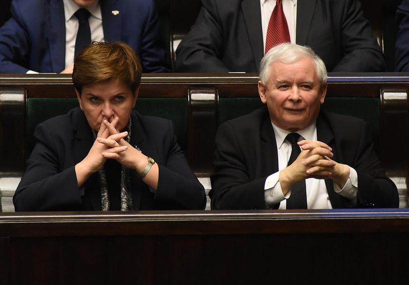 Beata Szydło i Jarosław Kaczyński /Adam Chelstowki/FORUM /Agencja FORUM