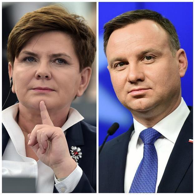 Beata Szydło (L, premier RP), Andrzej Duda (prezydent RP) /AFP