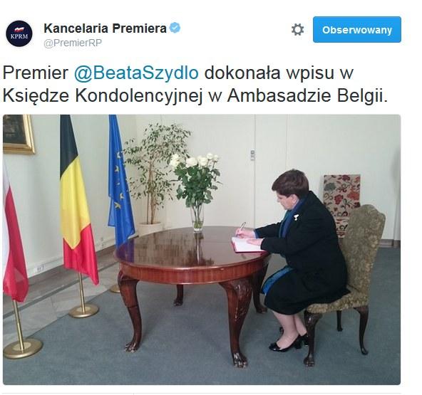 Beata Szydło wpisała się do księgi kondolencyjnej /Twitter