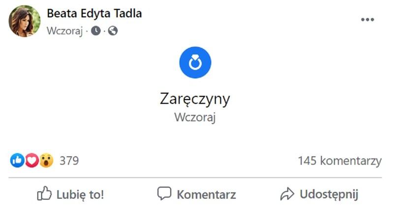 Beata Tadla powiadomiła o swoich zaręczynach za pośrednictwem konta na portalu społecznościowym /Facebook