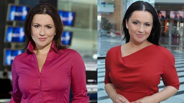 Beata Tadla w TVP (P) wygląda na bardziej zadowoloną niż w TVN-ie (L) - fot. TVN/TVP /