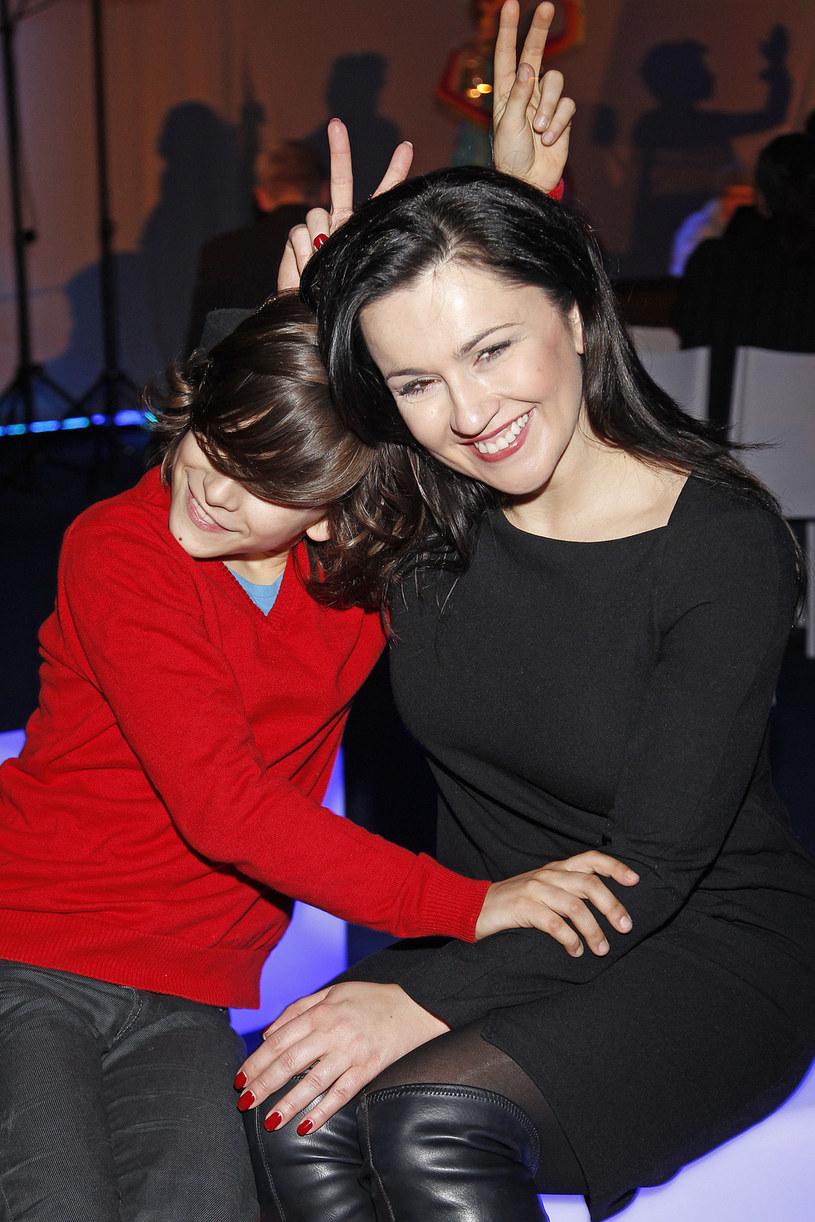 Beata Tadla z synem Jankiem /Baranowski /AKPA