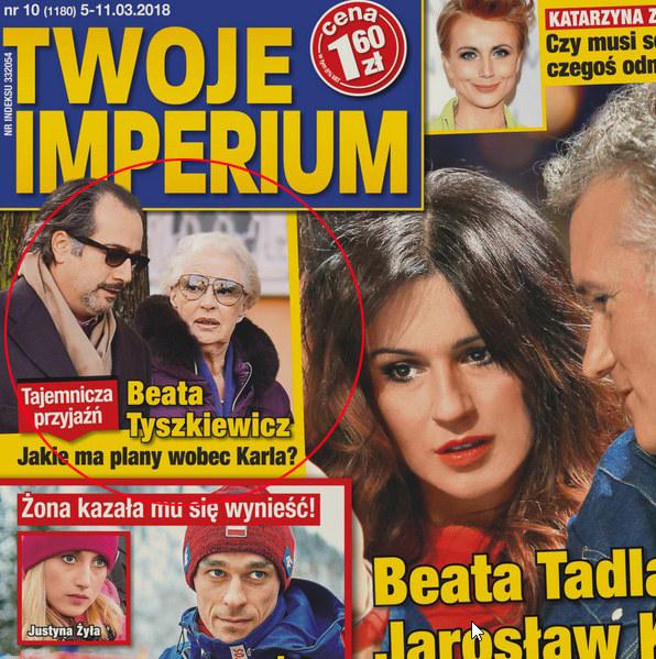 """Beata Tyszkiewicz z przyjacielem na okładce """"Twojego Imperium"""" /Twoje Imperium"""