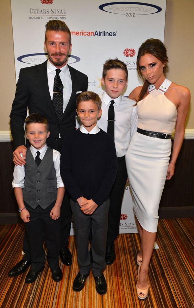 Beckhamowie z synami. Na zdjęciu brak małej Harper Seven /Alberto E. Rodriguez /Getty Images