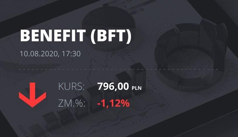 Benefit (BFT): notowania akcji z 10 sierpnia 2020 roku