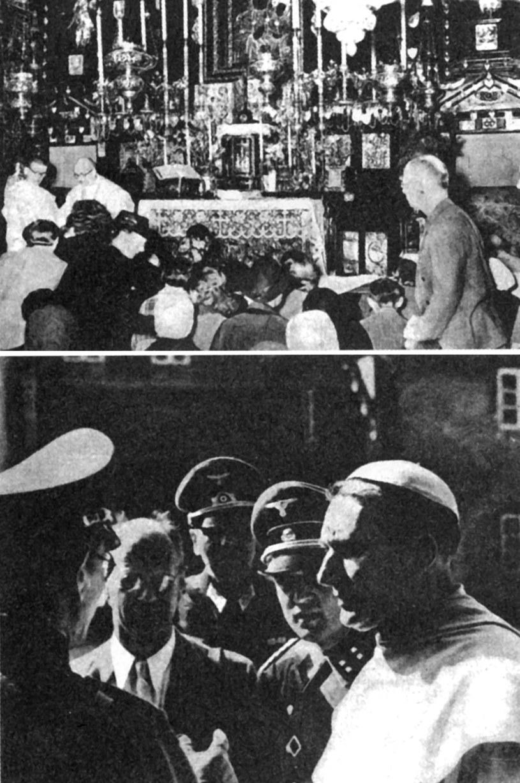 Berliński korespondent AP na Jasnej Górze w 1939 roku w towarzystwie niemieckich oficerów i zakonników /Odkrywca