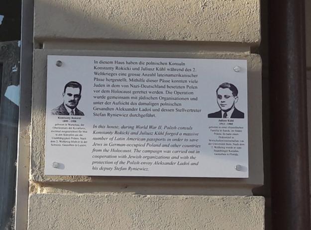 Berno: Tablica upamiętniająca Konstantego Rokickiego i Juliusza Kuehla /Ambasada RP w Bernie /