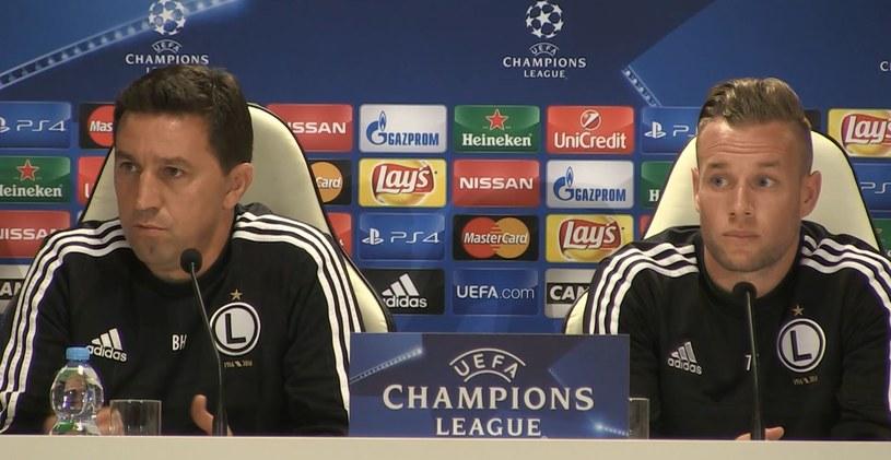 Besnik Hasi i Thibaut Moulin podczas konferencji prasowej przed meczem rewanżowym Ligi Mistrzów z Dundalkiem /Krzysztof Oliwa /INTERIA.PL