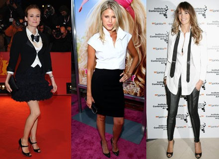 Biała bluzka to pole do popisu dla każdej kobiety /Getty Images/Flash Press Media