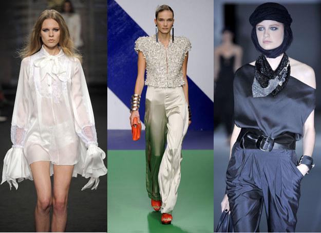 Biała długa koszula i szerokie spodnie /Getty Images/Flash Press Media