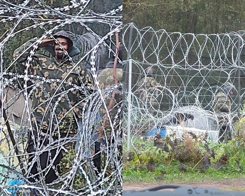 Białorusini przekazują migrantom w Usnarzu mundury (Źródło: Twitter/Straż Graniczna) /Twitter